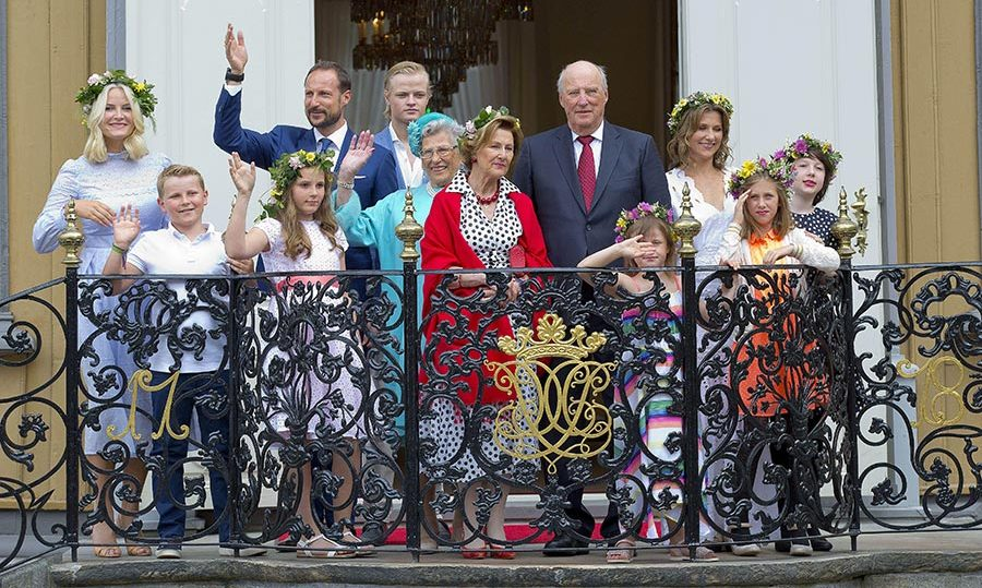 The family greeted crowds from the palace balcony in Trondheim.