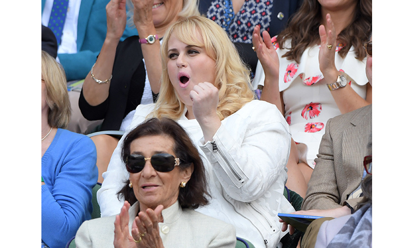Actress Rebel Wilson cheered Novak Djokovic onto victory on day one of action. 