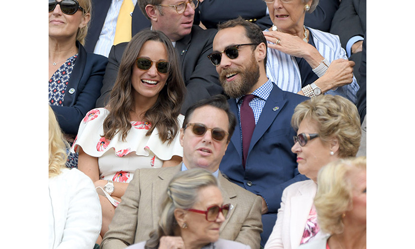 Tennis super fans Pippa and James Middleton shared a laugh during the James Ward v. Novak Djokovic match on Monday (Jun. 27). 