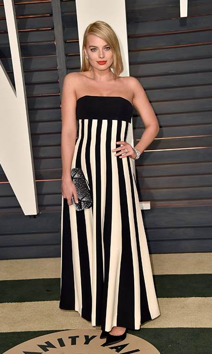 The actress switched it up for monochromatic stripes at the Vanity Fair party.