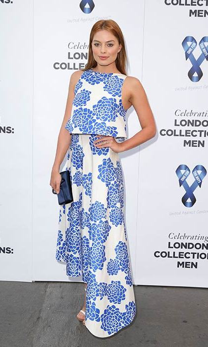 Margot looked ladylike in blue-and-white florals for a fashion ball in 2014.