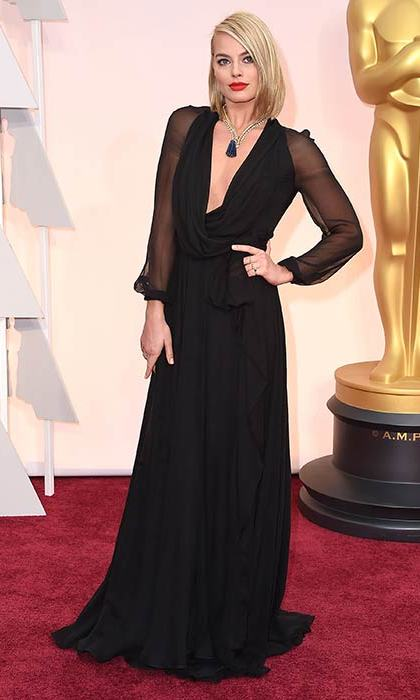 Margot looked glamorous as ever in a black Saint Laurent gown at the 2015 Oscars.