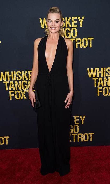A plunging black jumpsuit created an elegant and timelessly chic red carpet look.