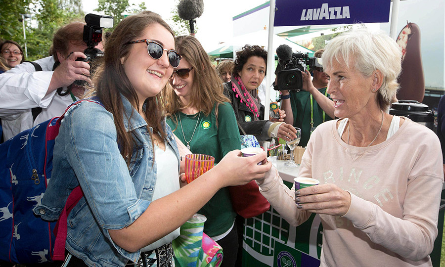 The tennis coach has been handing out free Lavazza coffees at Wimbledon.