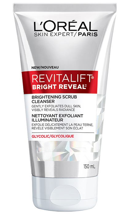 "<p><b>L'Oréal Paris Revitalift Bright Reveal Brightening Scrub Cleanser, $13 at Drug and Mass-market retailers, and <a href=""http://www.lorealparis.ca"" target=""_blank"">lorealparis.ca</a></b></p>