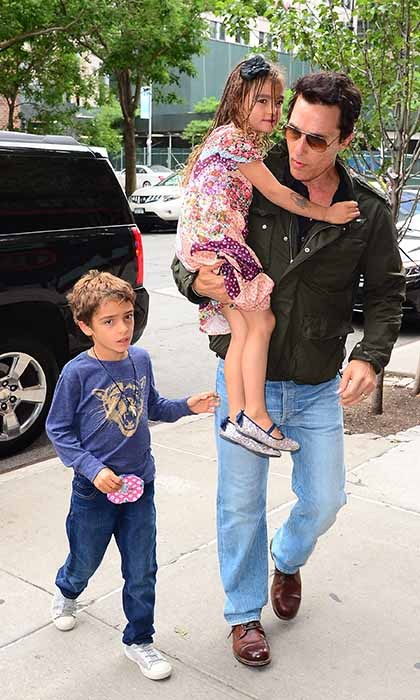 Matthew McConaughey enjoyed some quality time with his children Levi and Vida during an outing in New York. 