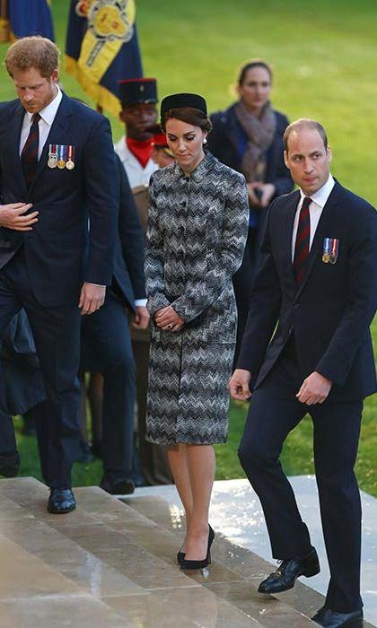 Kate wore a smart Missoni chevron coat for the Battle of Somme commemorations on Thursday.