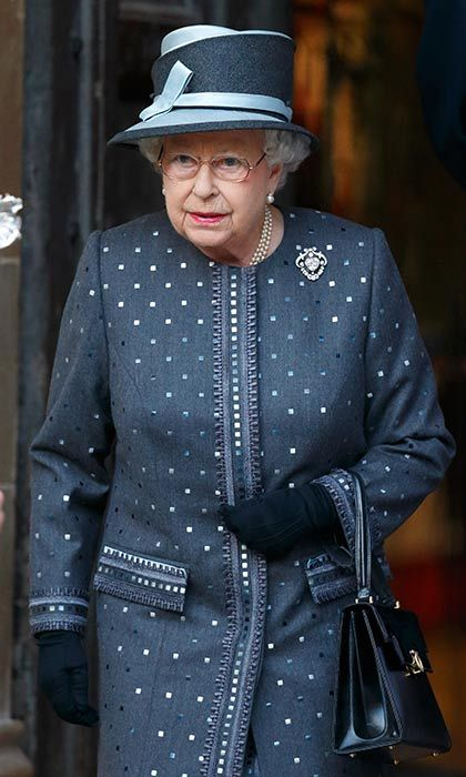 The Queen wore a grey patterned coat for a service on the eve of the centenary of the Battle of the Somme.