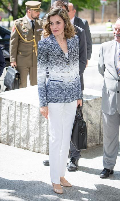 A striped blazer added a fashion forward update to Queen Letizia's summer tailoring.