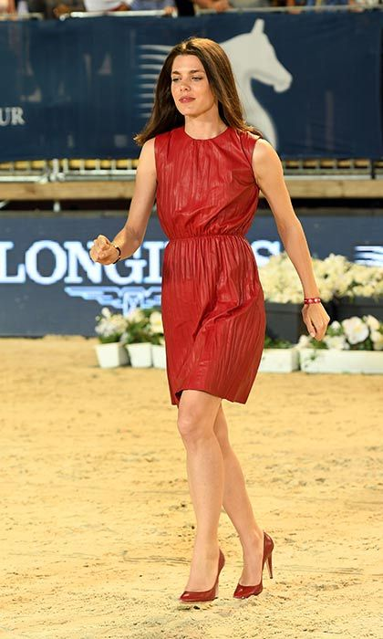 Charlotte Casiraghi looked elegant in a red dress and co-ordinating accessories at the Longines Global Champions Tour of Monaco.