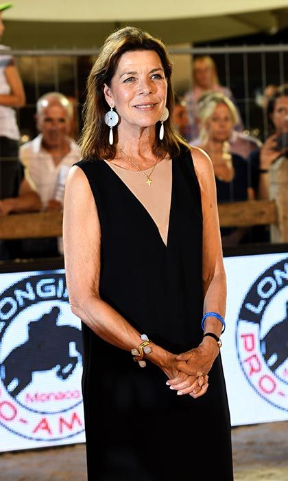 Princess Caroline donned a black shift dress for the Longines Global Champions Tour of Monaco.