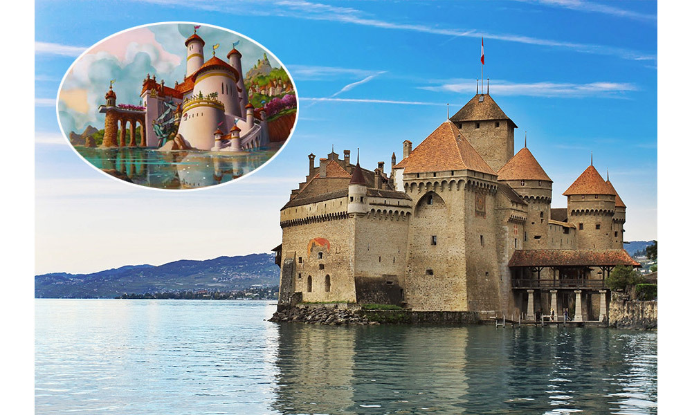 <strong>Prince Eric's castle in <em>The Little Mermaid</em> was inspired by The Chillon Castle, Switzerland.