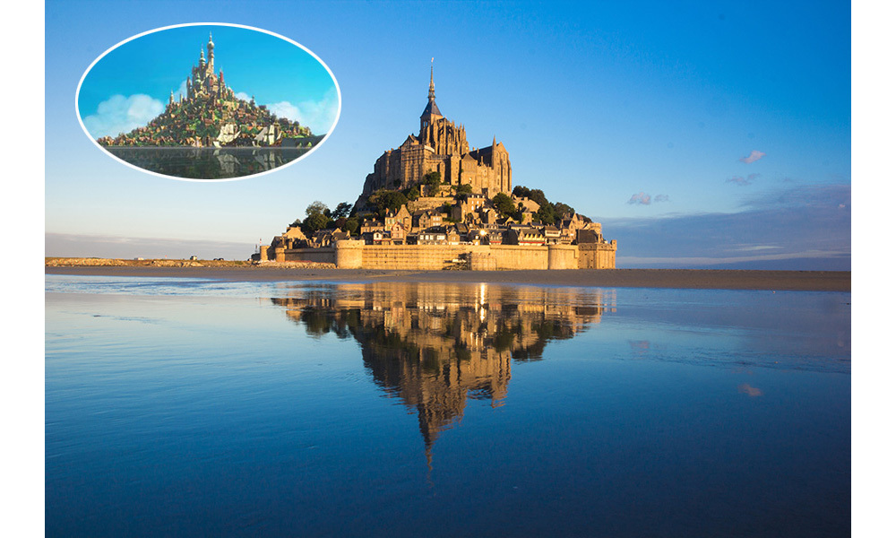 <strong>The Kingdom of Corona in <em>Tangled</em> was inspired by Mont Saint-Michel in Normandy, France.