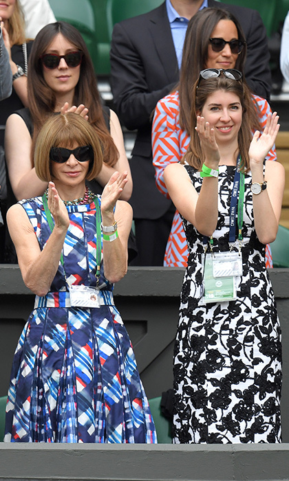 Tennis super fan Anna Wintour watched her close friend Roger Federer win his way into the quarterfinals. 