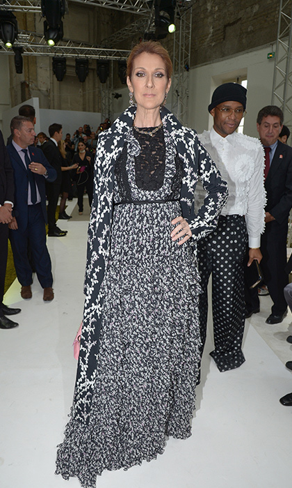 Celine's also graced the front row at Giambattista Valli's presentation during Paris Couture Fashion Week. The singer looked radiant in a floral coat from the design house's fall 2016 collection. 