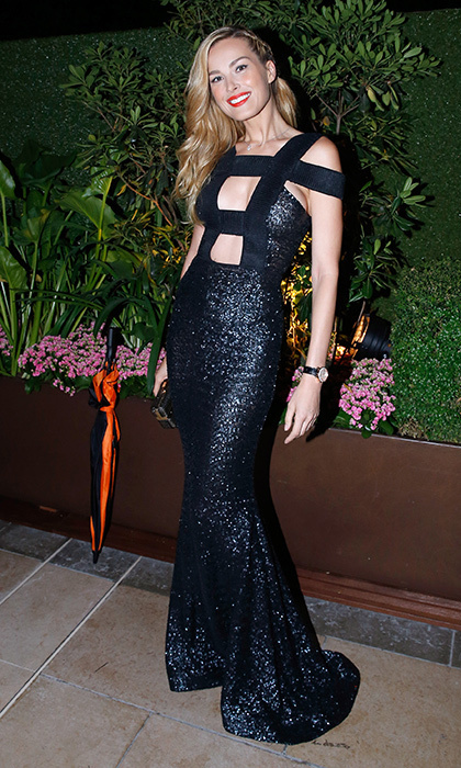 Petra Nemcova sparkled at the amfAR Paris charity dinner at the Peninsula Hotel.