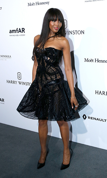 Naomi Campbell on the amfAR red carpet.