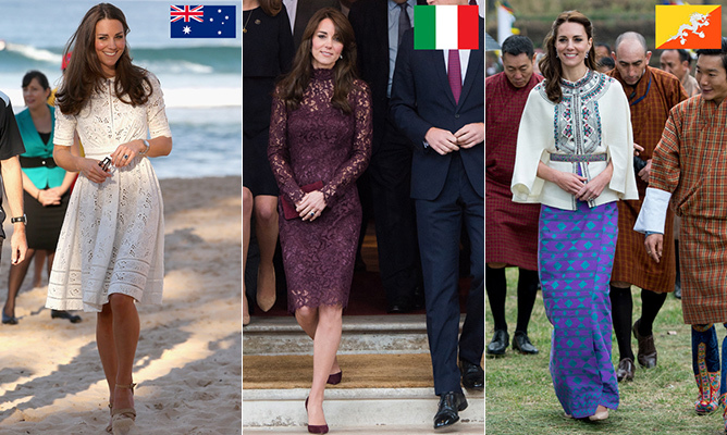 She's a royal style icon, known for turning British and international brands into household names overnight. Whether at home injecting foreign flavour into her ensembles or on tour representing her host nation's designers, the 'Kate Effect' is a global force.