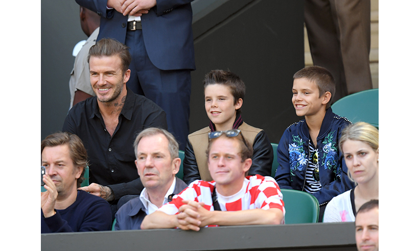 David Beckham and sons Cruz and Romeo. 