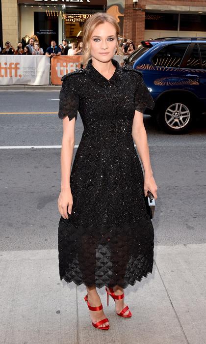 Diane opted for a pretty and feminine look with red satin ribbon sandals to play up her black sequin gown at the 2015 Toronto International Film Festival. 