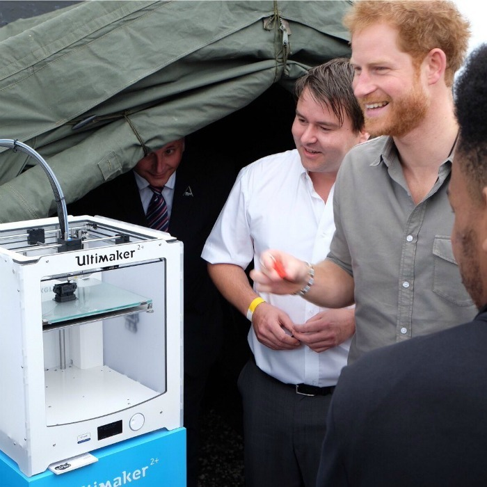 While visiting the organization that uses motorsport to inspire young people, Harry got to see 3D-printing action.