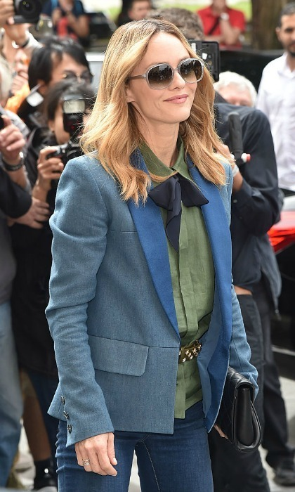 Vanessa Paradis kept it chic and laid back wearing jeans and a blue blazer to the Chanel show.