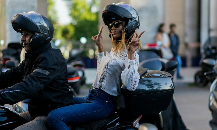 Au revoir! Jourdan Dunn sped off on a motorbike outside the Alexandre Vauthier show.