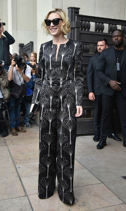Cate Blanchett was fifty shades of stunning wearing a patterned jumpsuit to the Armani Prive fashion show. 