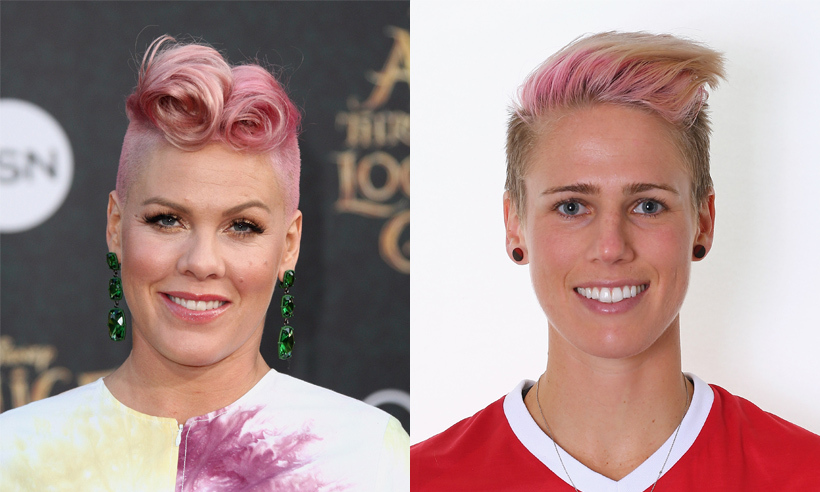 Canadian soccer star Sophie Schmidt looks an awful lot like Pink, and not just because they've both died their locks the singer's signature colour. The expert midfielder is joining her Canadian teammates on Rio's soccer pitch to shoot and score as many goals as possible – go team!