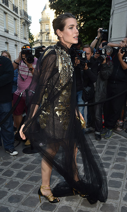 Charlotte Casiraghi's dress got caught up as she attended the Vogue Gala.