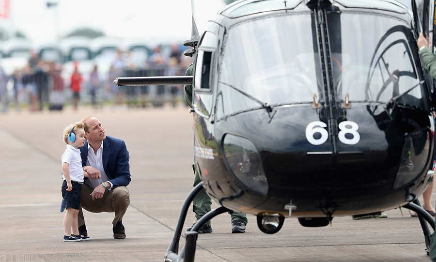 Prince William shared his love of aviation with Prince George during the youngster's first official engagement in the UK on July 8.