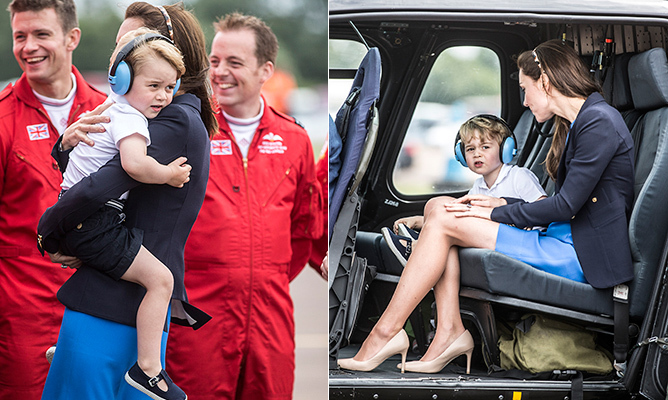 "Prince George was delighted to explore the aircraft at the Royal International Air Tattoo a few weeks ahead of his third birthday, when the toddler carried out his first-ever official engagement in the UK. With mom and dad by his side, George showed his natural curiosity and asked Kate, ""Mummy, can I fly a Red Arrow now?"" But the confident future monarch still stole some time to snuggle with mom.