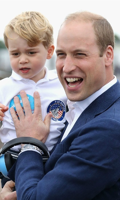 Prince William appeared to have just as much fun as his young son during the visit.