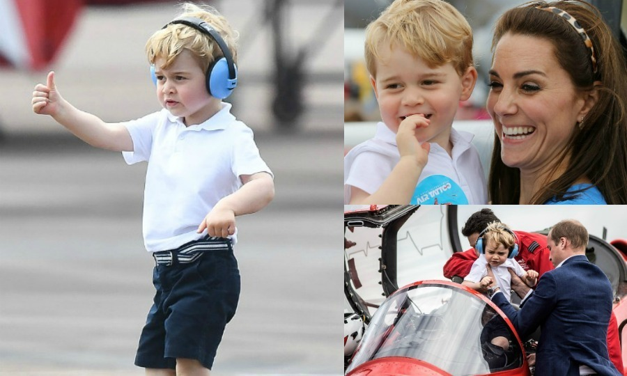 Prince George was ready for take-off at his first engagement in the UK! The future King attended the Royal International Air Tattoo at RAF Fairford with his parents Kate Middleton and Prince William. From jumping into the cockpit to climbing in helicopters, we're taking a look at the little royal's exciting day.