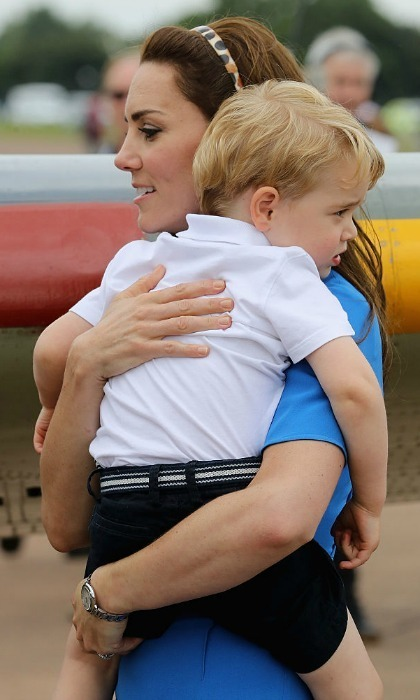 To reassure George that all was well, Kate gave her son a sweet cuddle.