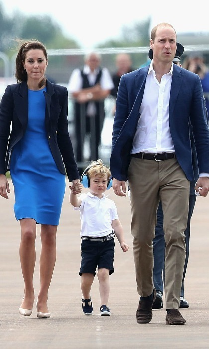 George was dressed sharply for his big day, wearing a white polo shirt, navy shorts and matching Hampton Nantucket canvas shoes from Trotters.