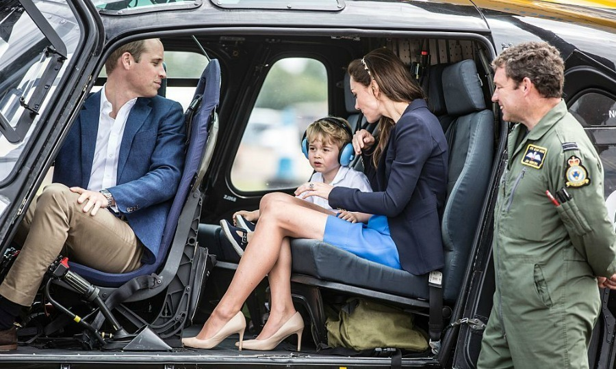 The Cambridges hopped into a Squirrel helicopter, which Prince William had trained upon back in 2009 at RAF Shawbury