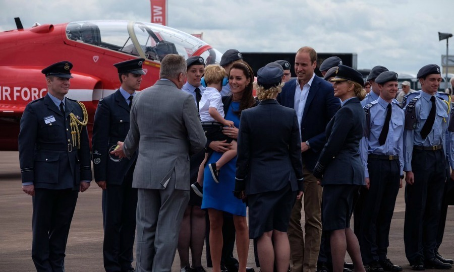 Kate, who is an Honorary Air Commandant of the Air Cadets, met with Air Cadets. During their meeting, the RAF cadets gave Prince George a little blue savings pig as a souvenir of the organization's 75th anniversary.