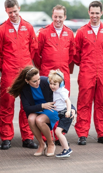 By George, the Prince of Cambridge was ready to take flight at his royal engagement.