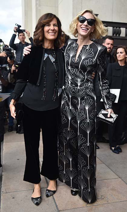 Cate Blanchett, who has had many show-stopping red carpet moments in Armani Privé creations, attended the fashion house's fall/winter 2017 haute couture presentation in Paris with the designer's niece Roberta.  