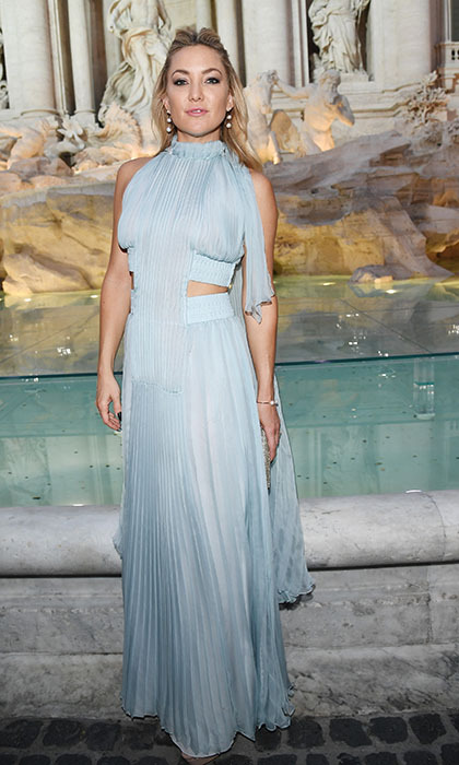 "Kate Hudson was a vision in pale blue at Fendi's 90th anniversary showcase at the Trevi Fountain in Rome. The stunning runway show featured models like Bella Hadid and Kendall Jenner ""walking on water.""  