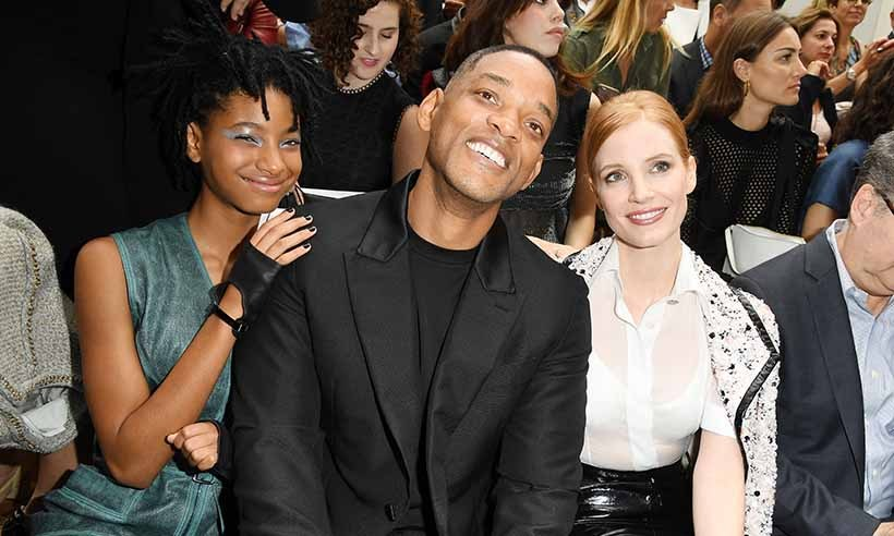 Will Smith couldn't contain his excitement as he attended Chanel's show at Paris Couture Fashion Week alongside his daughter Willow, who is the new face of the brand, and fellow Hollywood A-lister Jessica Chastain. 
