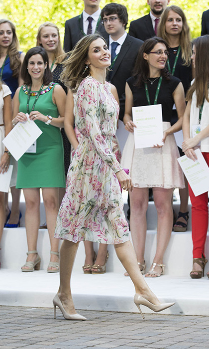 Queen Letizia championed the high street in a $85 Zara dress.