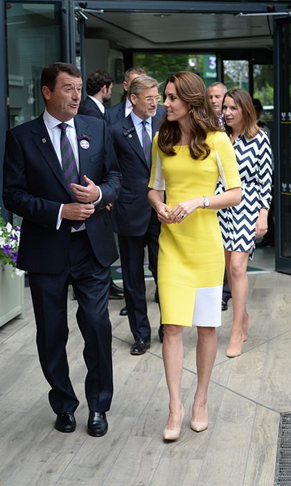 The Duchess rewore a yellow Roksanda Ilincic dress for her appearance at Wimbledon on Thursday.