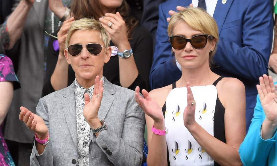Another friend of Serena's, Ellen DeGeneres traveled across the Atlantic to show her support for the sports superstar. Ellen's wife Portia de Rossi was a knockout in a form-fitting patterned dress.