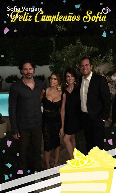 Sofia's husband Joe and sister Claudia joined the celebrations.