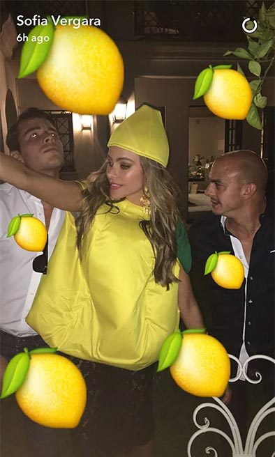 The actress donned a lemon costume later in the night.