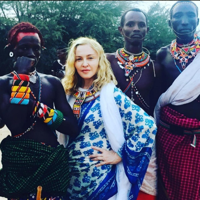 "Madonna honored the Samburu tribe in the Rift Valley with a photo saying, ""Such an honour to stand next to these beautiful people.""