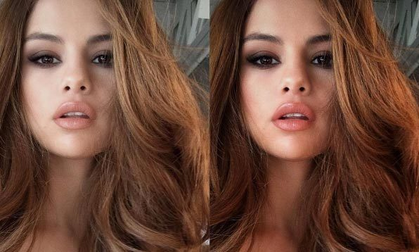 See how selena gomezs selfies change before and after filters voltagebd Gallery