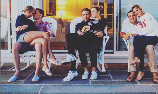 Taylor Swift, Tom Hiddleston, Ryan Reynolds, Blake Lively and her best friend Britany LaManna with her husband.